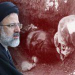 ابراهینم رئیسی − زمینه عکس: بخشی از گور جمعی اعدامشدگان تابستان ۱۳۶۷ در خاوران.