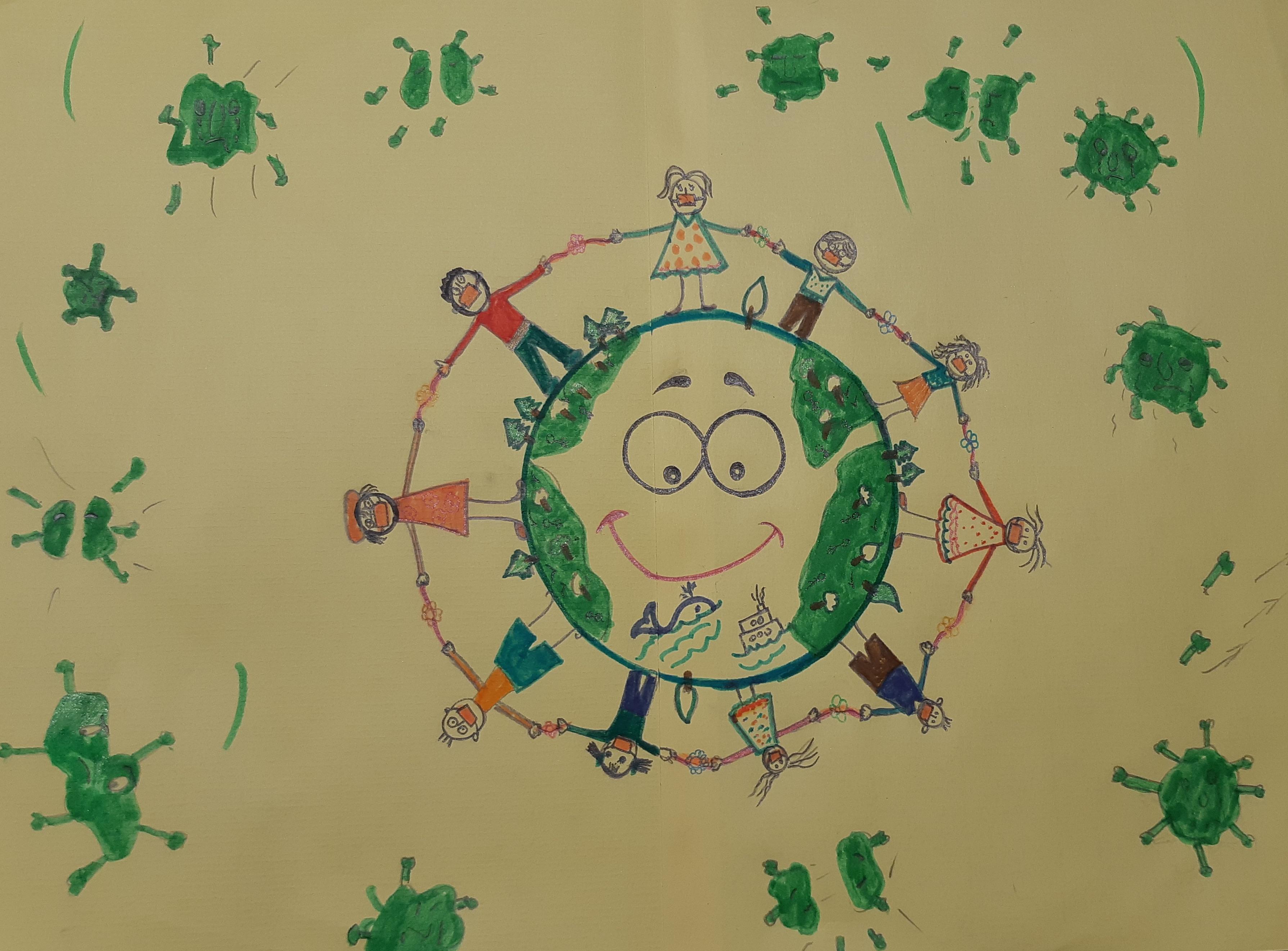 نقاشی کرونا برای کودکان